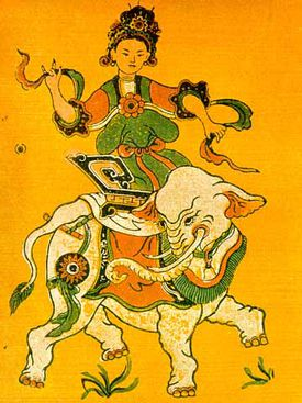 Folk art showing Lady Trieu, the rebel queen of 3rd century Vietnam, riding an elephant.
