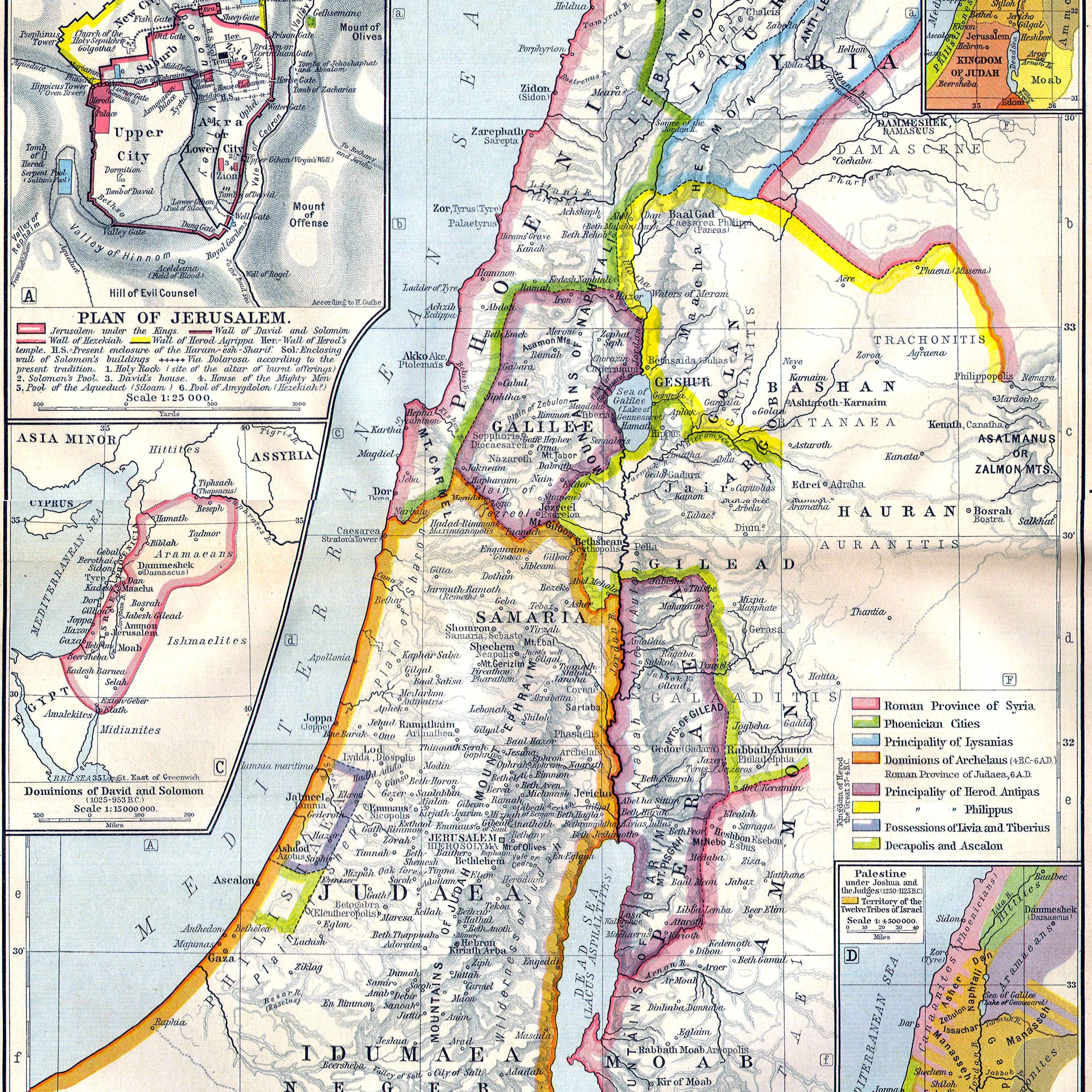 Map of ancient Palestine with insets showing Jerusalem and the dominions of the David, Solomon, Joshua and the Judges