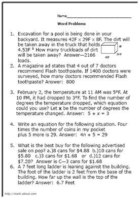 8thgrade math word problems worksheets