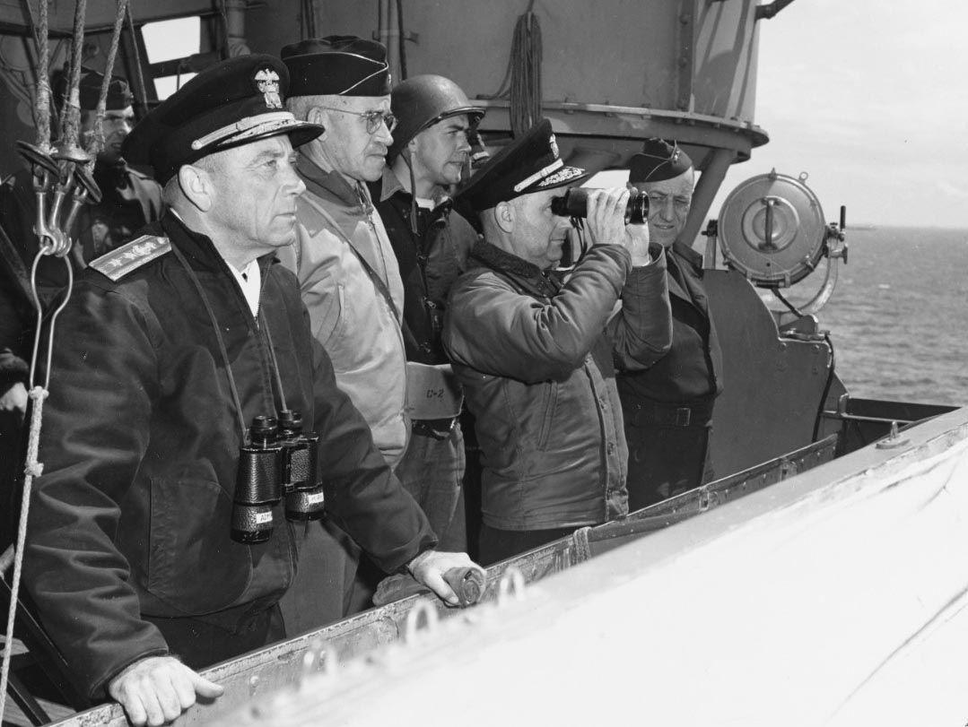 Bradley aboard USS Augusta on D-Day, 1944
