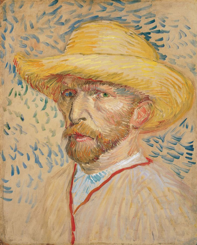 Vincent van Gogh (Dutch, 1853-1890). Self-portrait with Straw Hat, 1887. Oil on cardboard.