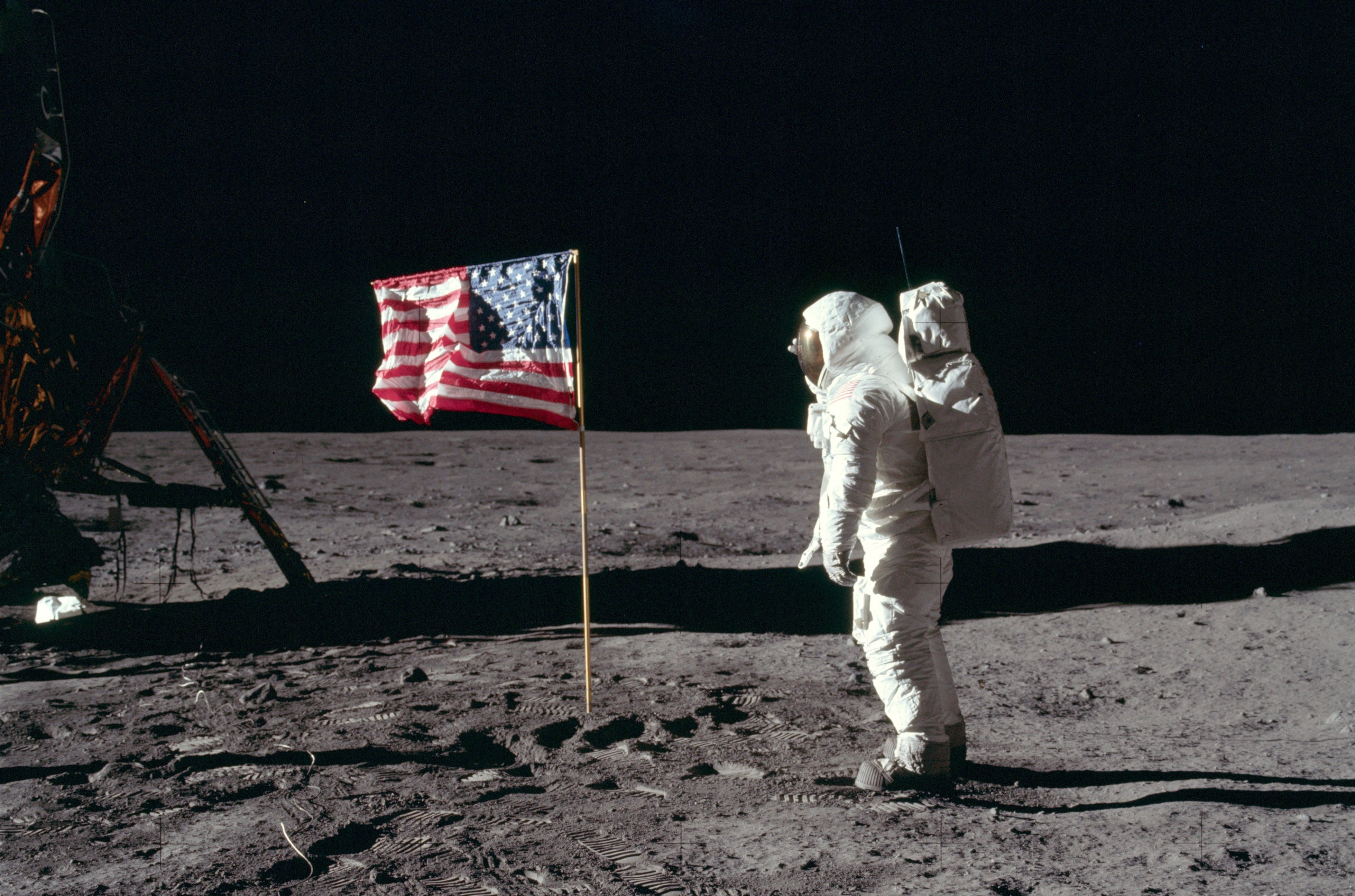 Buzz Aldrin and the U.S. flag on the moon in 1969.