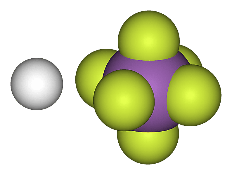 This is the three-dimensional model of fluoroantimonic acid.