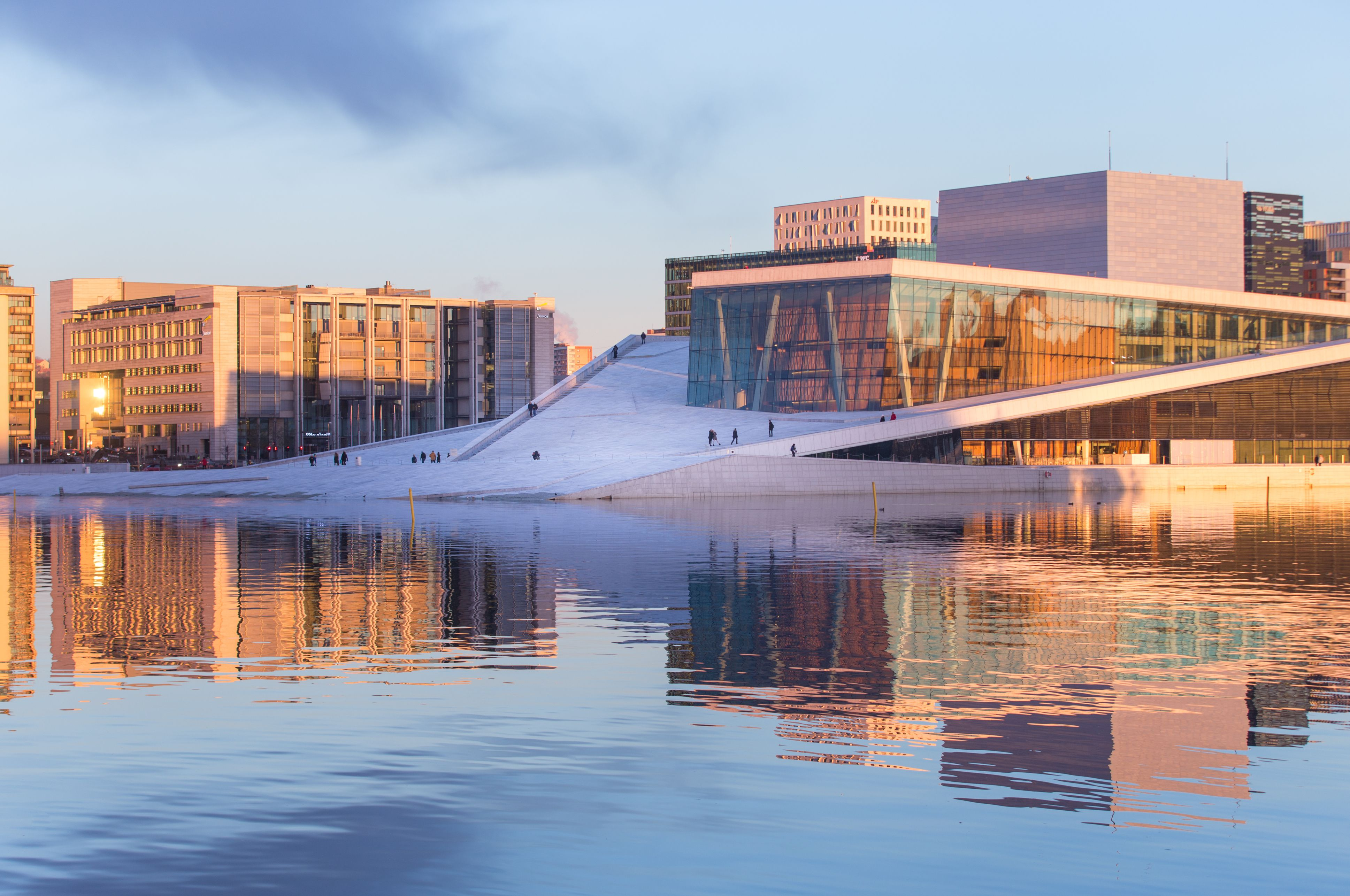 Oslo Opera House within a redeveloped waterscape in Oslo, Norway