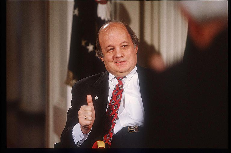 James Brady gives a thumbs up during the signing of the Brady Bill on November 30, 1983 at the White House.