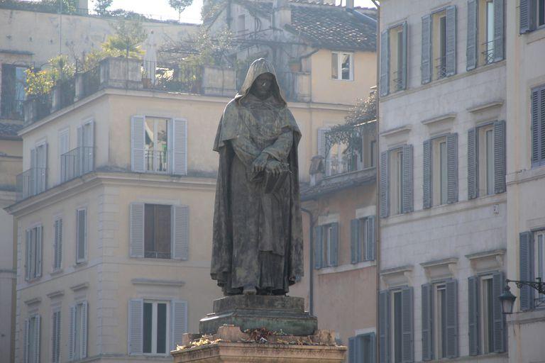 A famous monument of Giordano Bruno on Campo di Fiori, Rome, Italy in morning light.