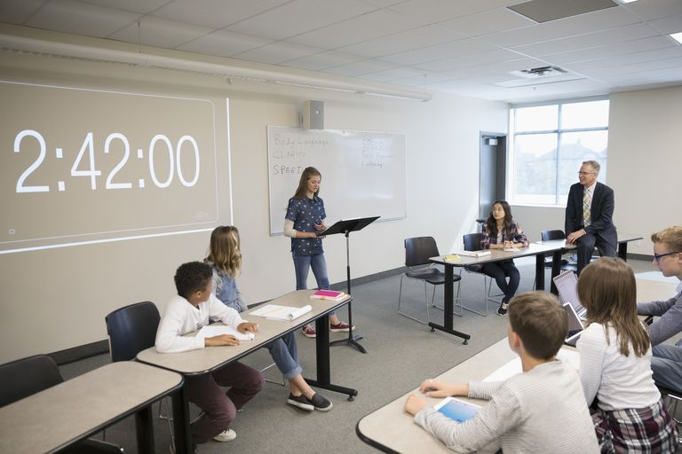 Middle school students in debate club in classroom