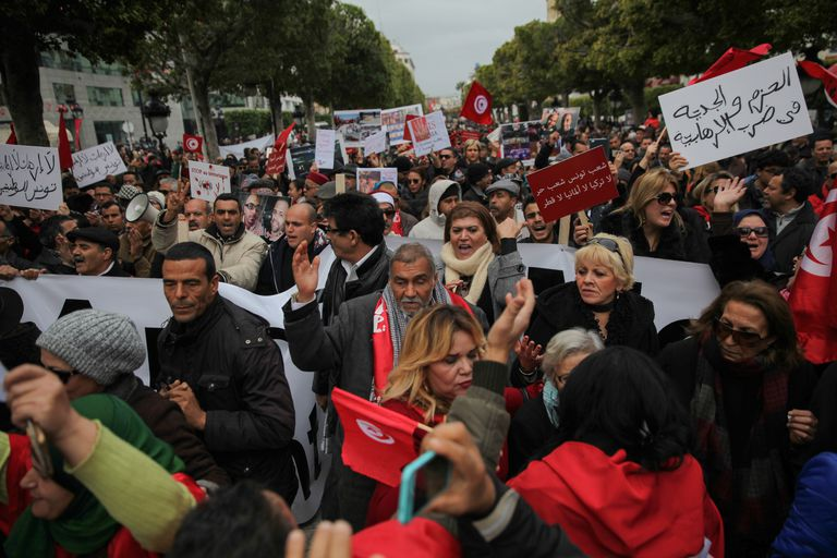 Protest against the return of Tunisian terrorists from hotbeds of tension