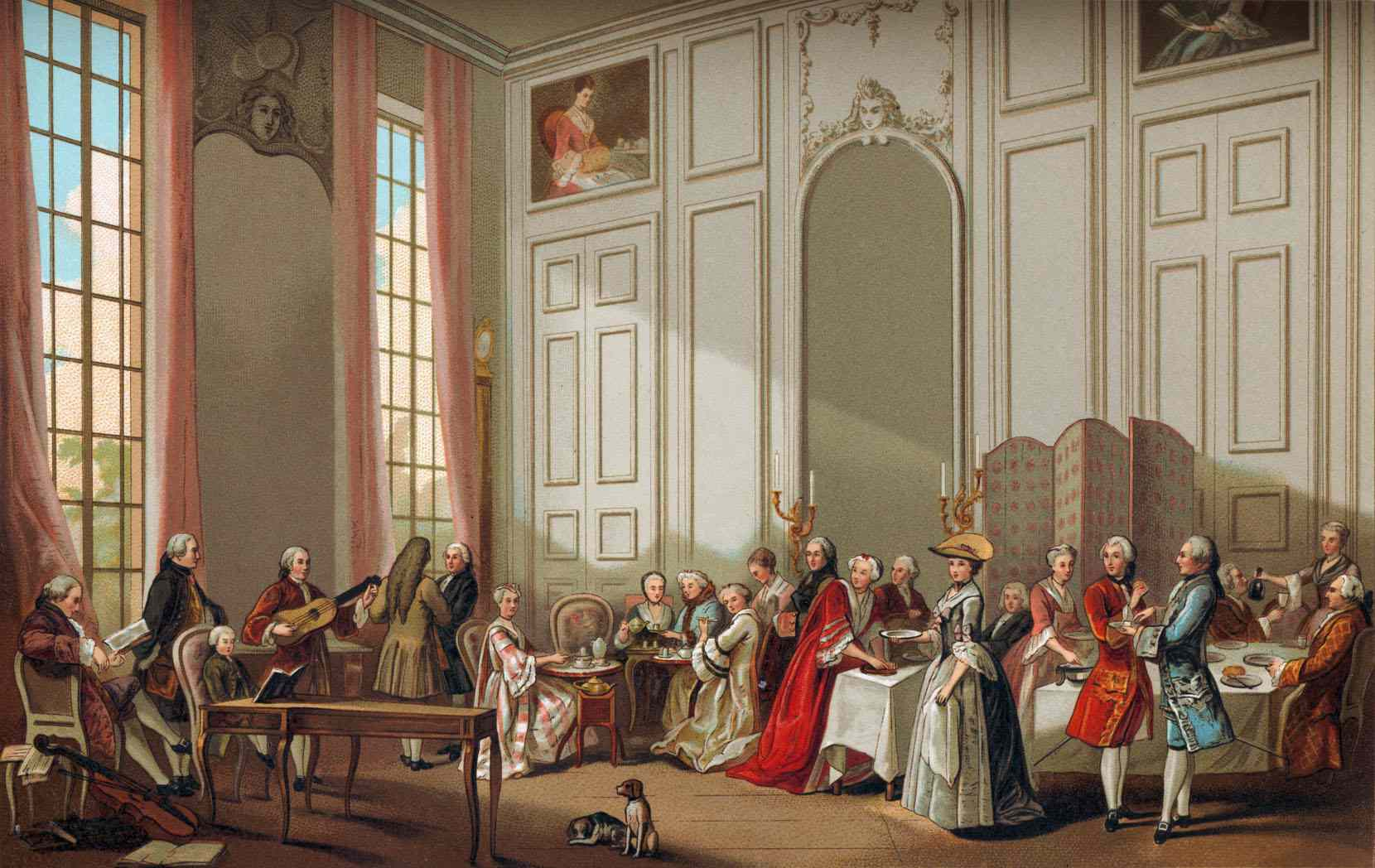 Daily life in French history: the aristocracy taking tea.