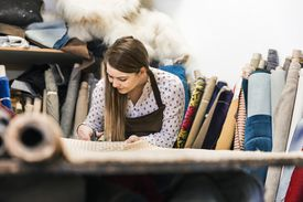 Woman Working with Textiles