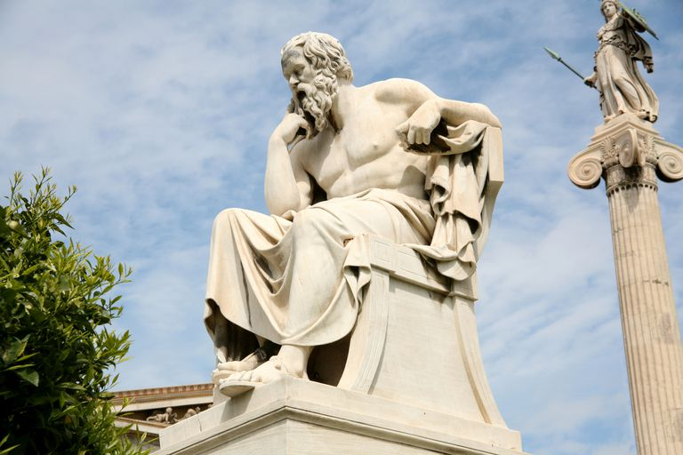 A statue of an ancient philosopher