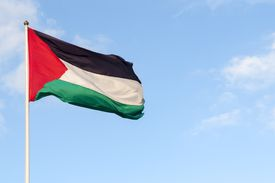 Palestinian flag over the West Bank