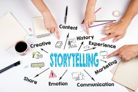 storytelling graphic with hands pointing at it