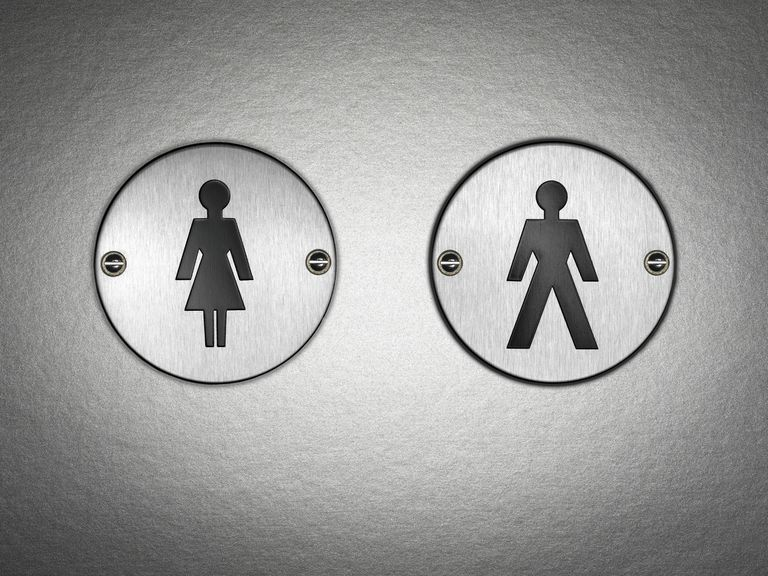 Bathroom signs signaling different toilets for men and women demonstrates the social construction of gender, which is a focus of study within the sociology of gender.