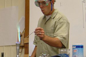 This is a flame test performed on a copper halide.