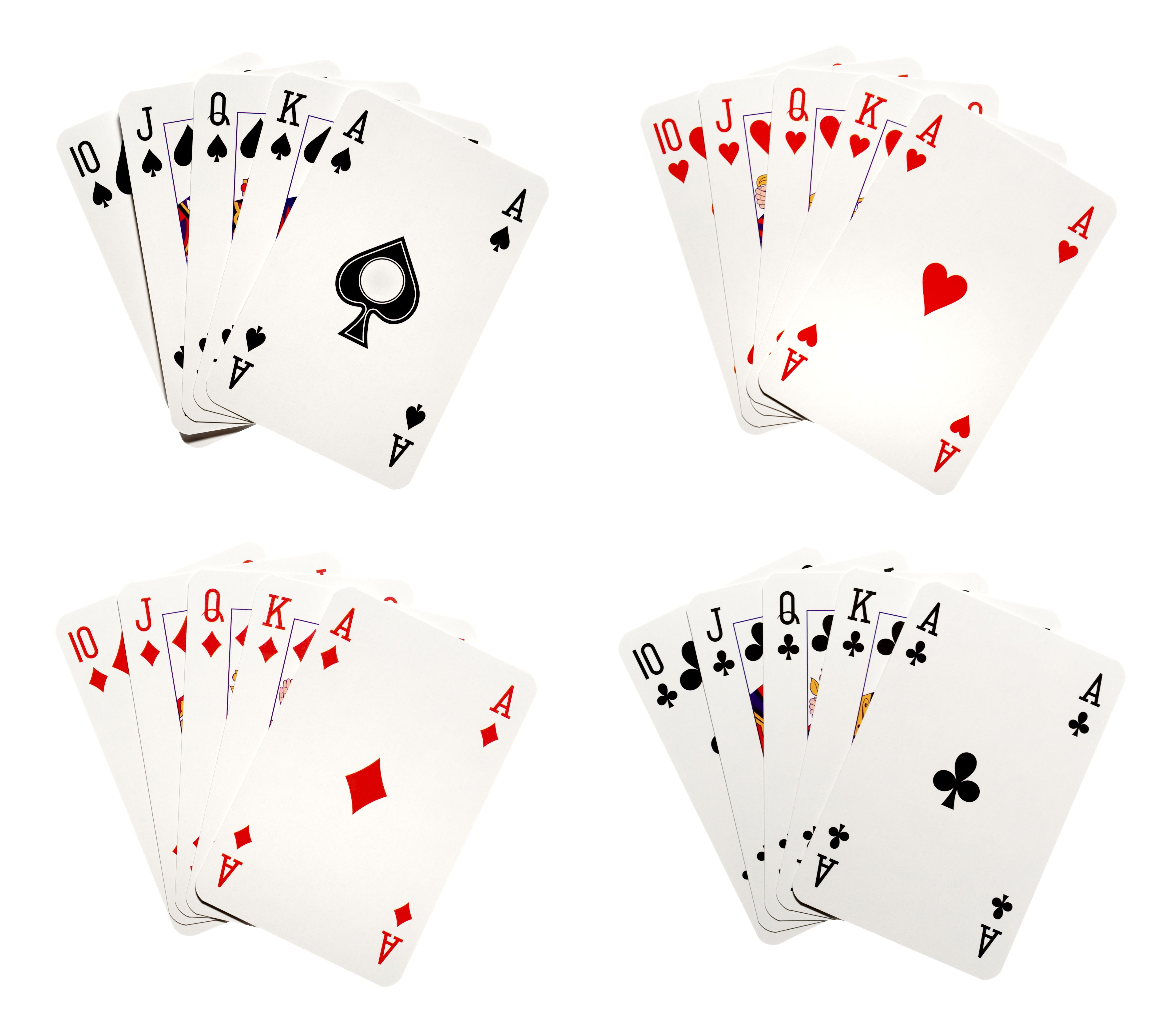 For royal flush hands laid out against white background.