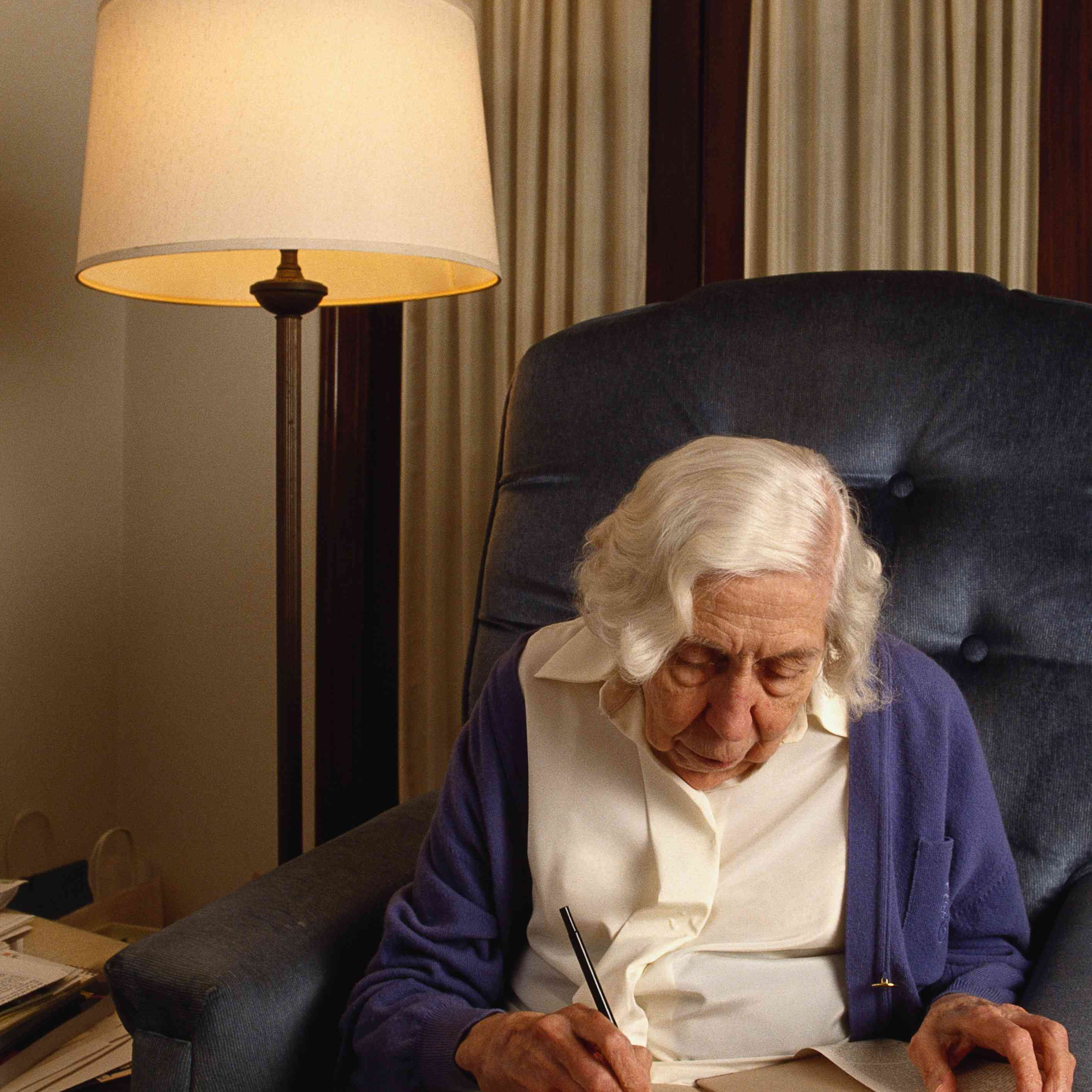 Writer Eudora Welty Writing in Her Living Room