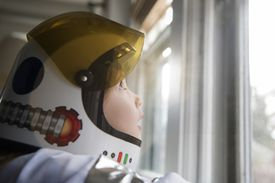 Girl wearing helmet