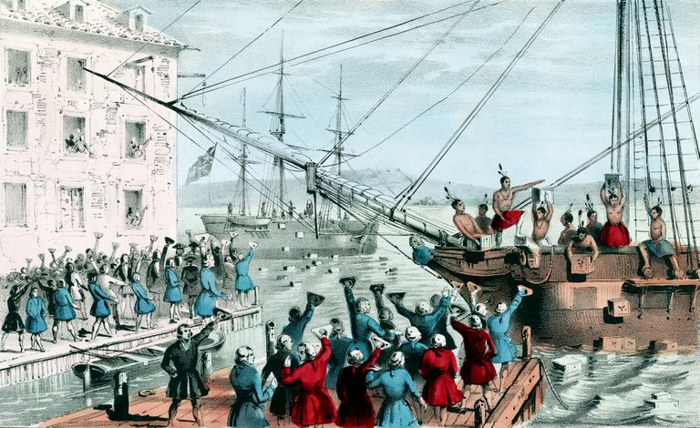 Vintage illustration features the Boston Tea Party