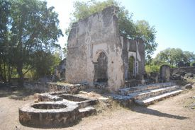 Mosque ruins on a sunny day.