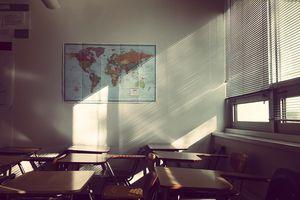 interior of empty classroom