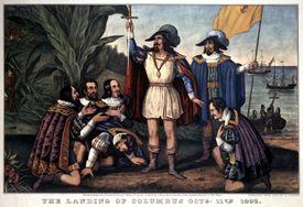 Illustration of Christopher Columbus landing in North America