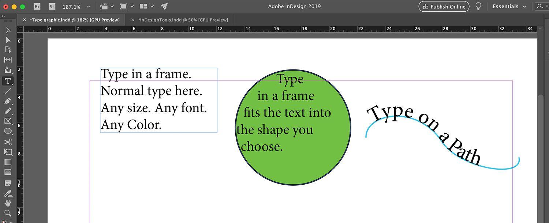 Using the Type Tool in three ways