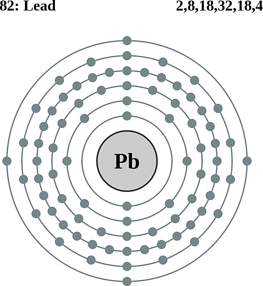 This diagram of a lead atom shows the electron shell.