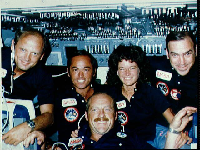 Sally Ride and the crew of STS-7 in flight.
