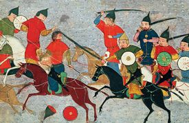 Colorful painting depicting Genghis Khan and soldiers in combat.