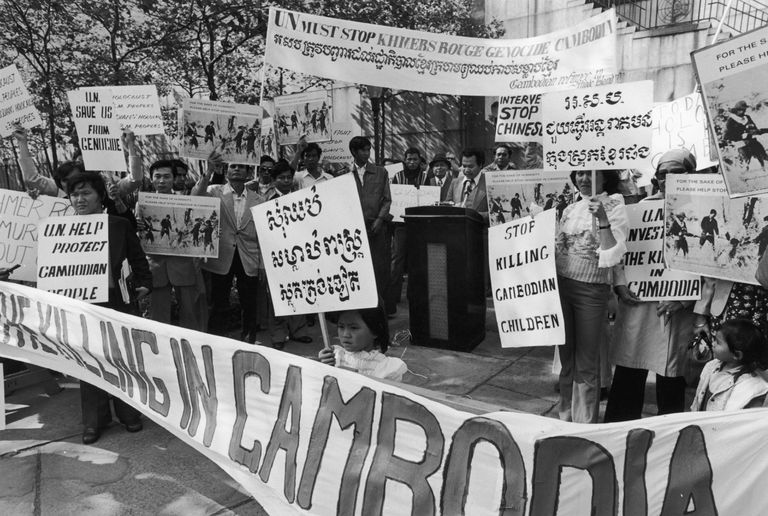 A demonstration outside the UN headquarters in New York City against the genocide in Cambodia perpetrated by the Khmer Rouge, circa 1975.