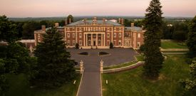 Drone view of Florham Park at Fairleigh Dickinson University during sunset.