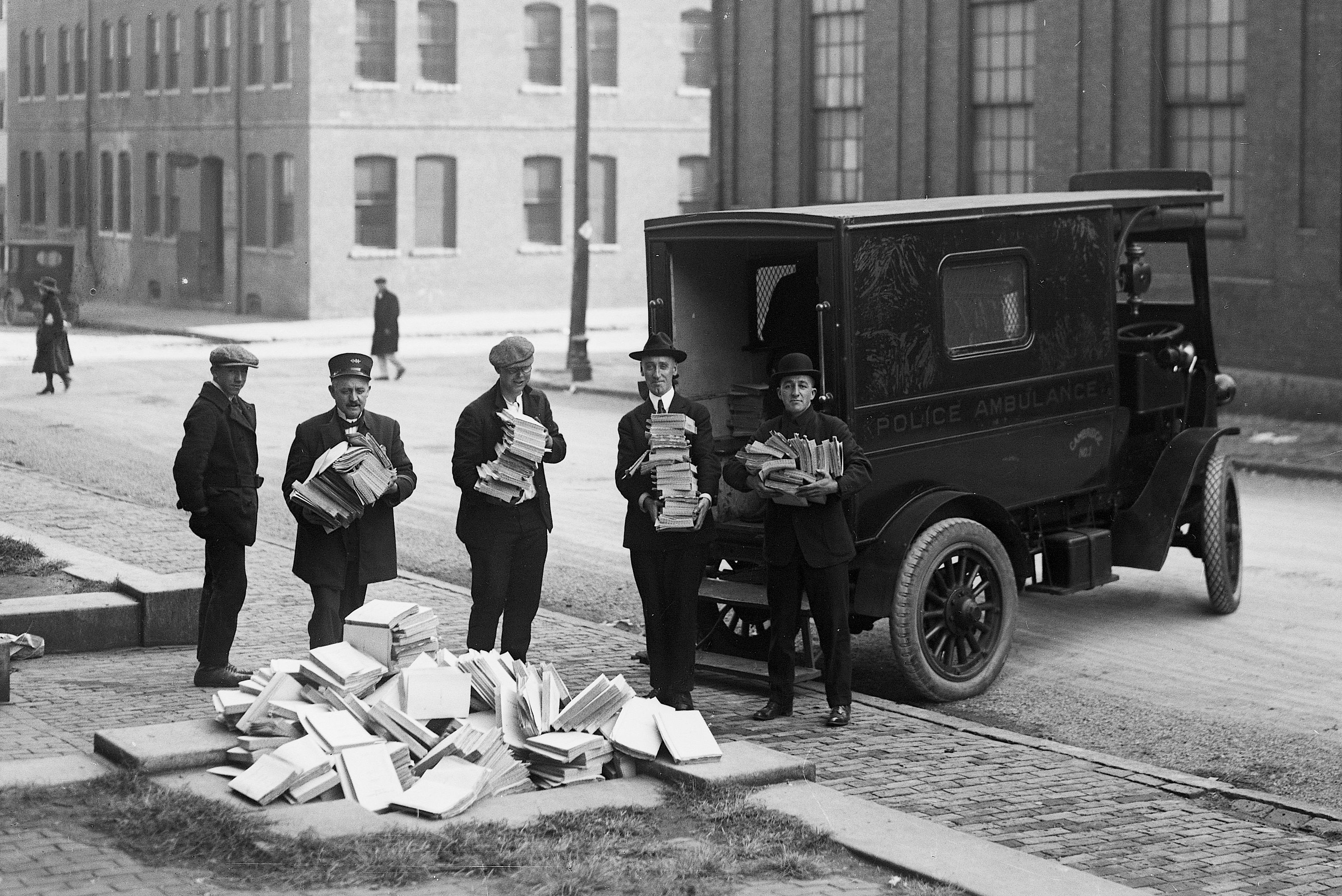 Boston Police pose with seized radical literature.
