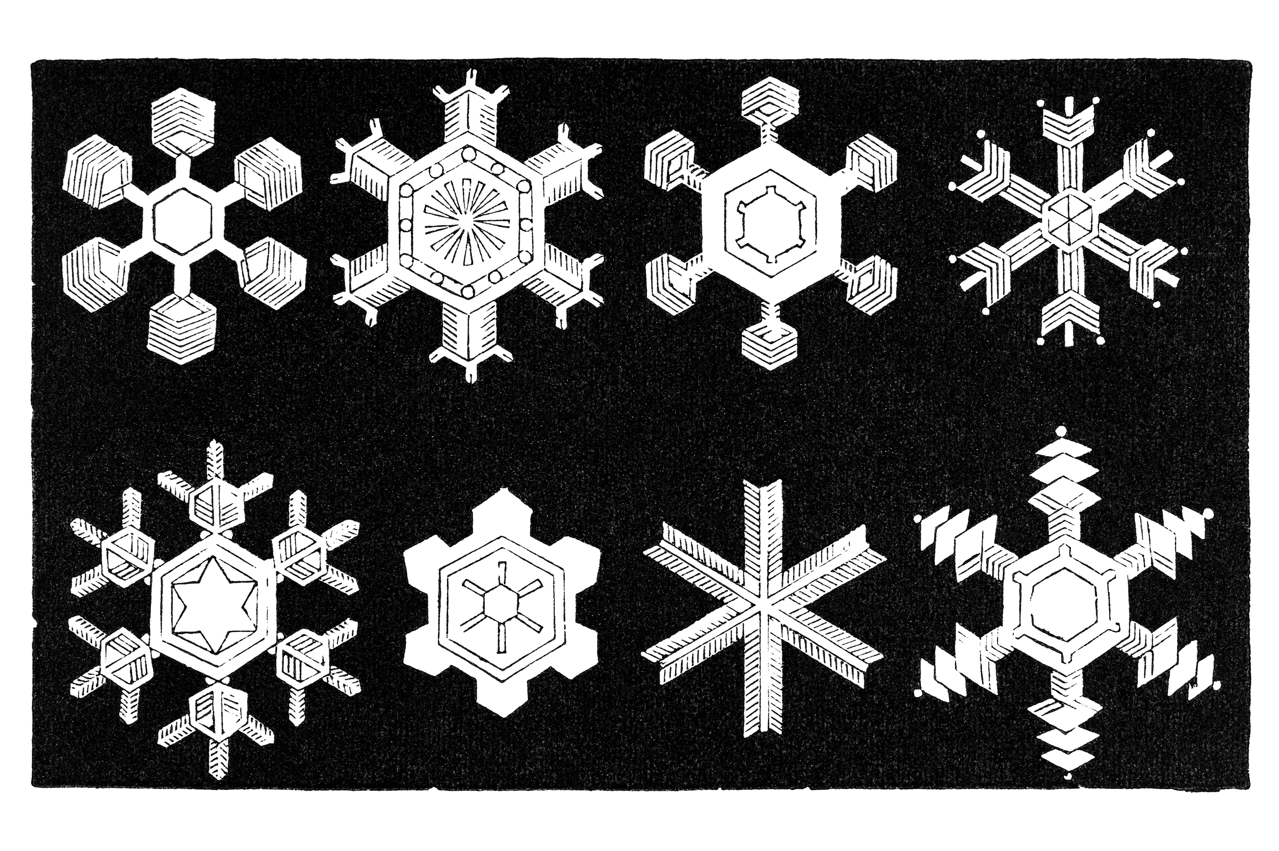 The shape of a snowflake depends on the temperature at which it formed.