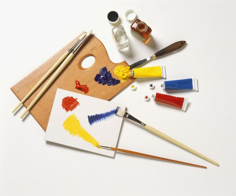 oil paints, brushes and solvents