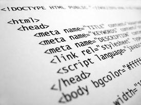 HTML code displaying various webpage elements