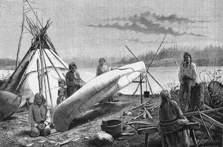 Engraving depicts an Ojibwe (Chippewa) camp on the bank of a river, circa 1800s. The tribe members use birchbark to repair their damaged canoe.