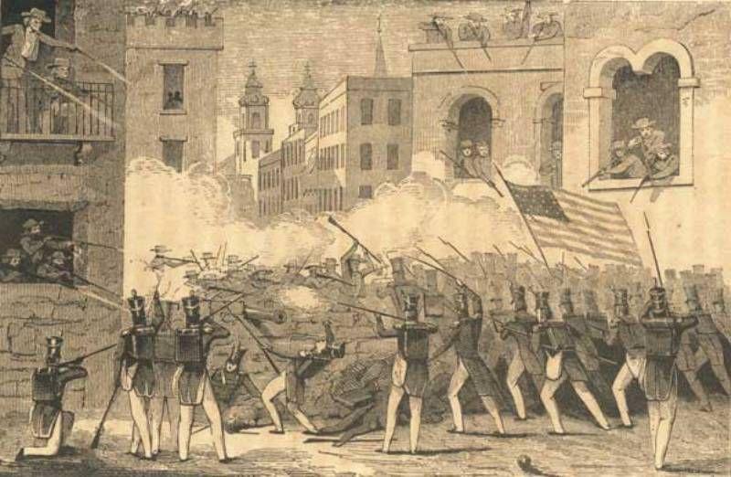 American troops fighting in the street of Monterrey