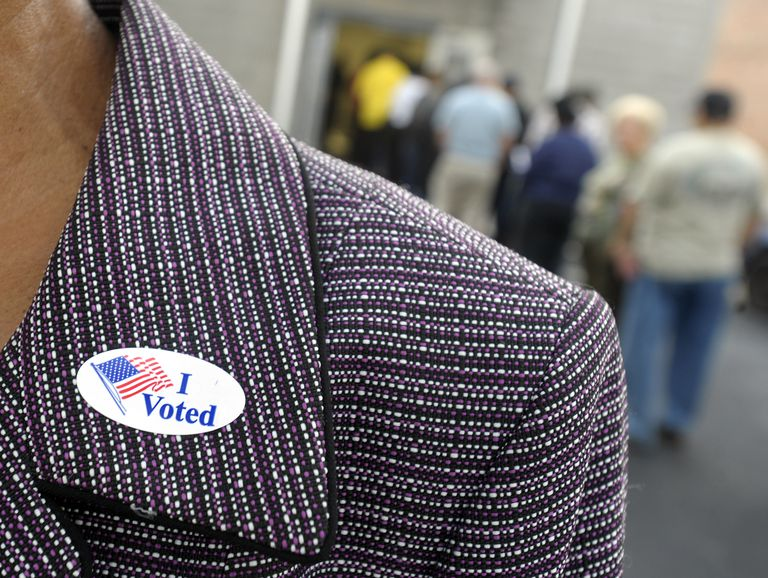 "Voter wearing an ""I Voted"" sticker on their lapel"