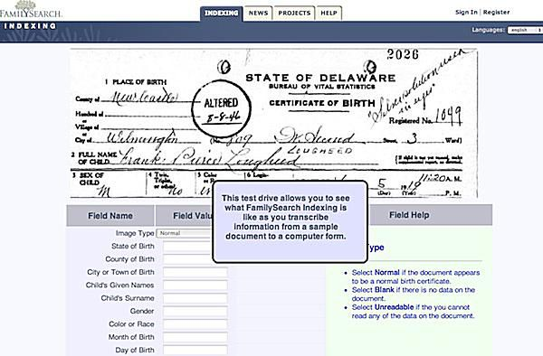 FamilySearch Indexing - Take the Test Drive