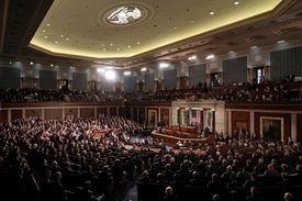 Congress gathers for an address from French President Macron in the crowded House Chamber at the U.S. Capitol