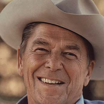 Picture of Ronald Reagan in a cowboy hat.