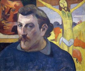 Self-Portrait with the Yellow Christ, by Paul Gauguin, 1890-1891, oil on canvas, 1848-1903, 30x46 cm