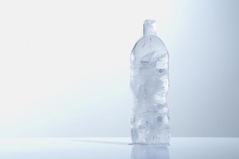 frozen water in bottle