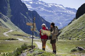 Couple trekking in Val Formazza