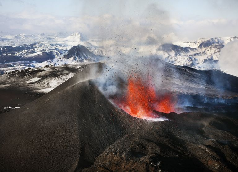 Close up of Eyjafjallajökull Volcano Erupting In Iceland, 2010.