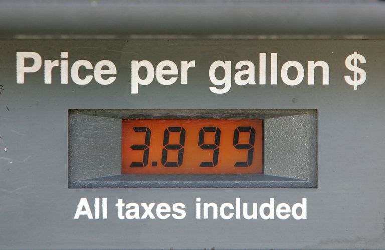 Gasoline pump showing the price per gallon