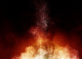 Stylized combustion graphic