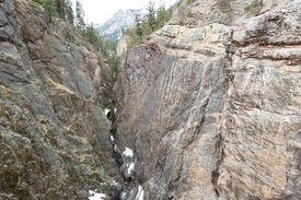 Angular Geological unconformity in precambrian rock outcrop, box canon, Ouray, Colorado USA