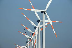 Wind turbines spin at a windpark